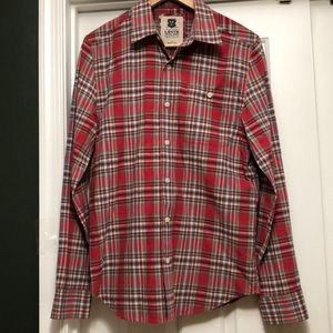 Levi's Red Blue Plaid Long Sleeve Shirt Size S